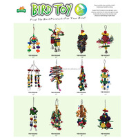 Colorful Parrot Pet Bird Macaw Hanging Chew Toy Bells Wood Blocks Swing Toys