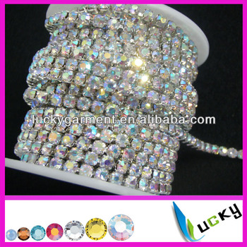 super close rhinestone cup chain ss16 crystal ab silver base