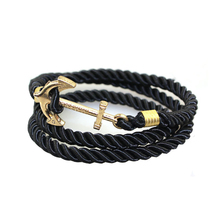 Hot sale man jewelry, multi layer bracelet with anchor clasp MOONSO KS2475