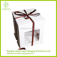 Eco Friendly Separate Lid ExtraTall Paper Cake Boxes White with Clear Window Bakery