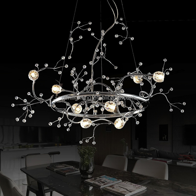 European style branch chandelier 8 lights and modern chrome iron pendant lamp with G4 light source