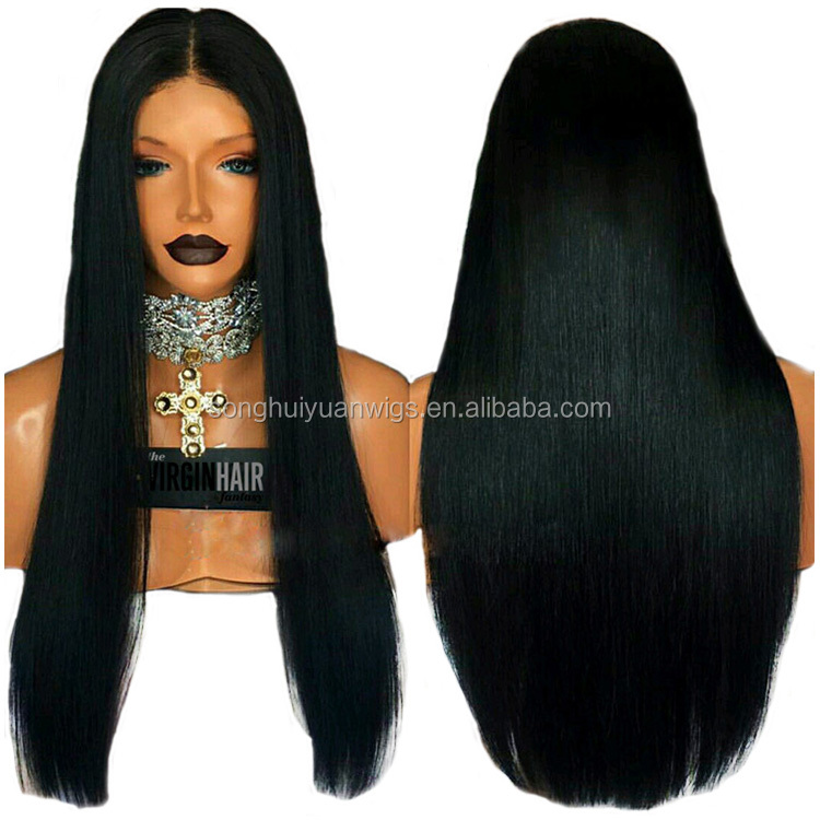 Good Quality Long Black Lace Front Human Hair Wigs In Stock With Preplucked Hairline
