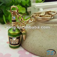 fashion wine bottle keychain keyring with clip /beer bottle opener keychain