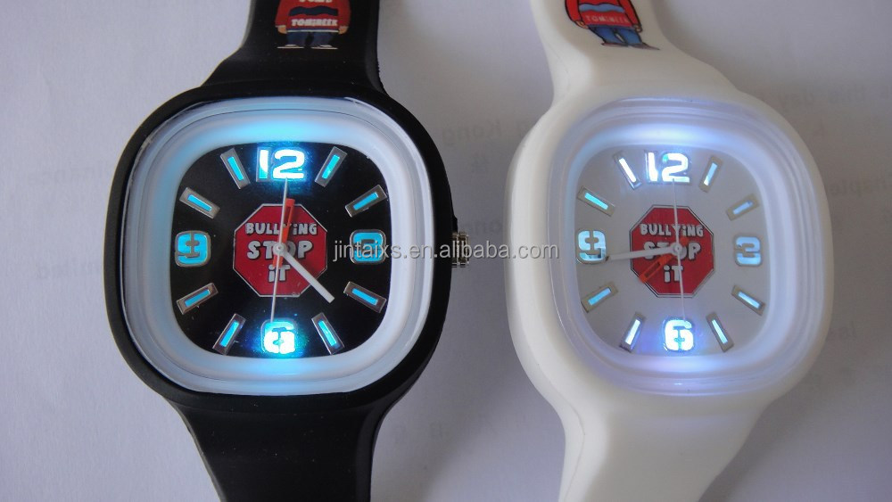 Luminous LED light silicone sport watch with your company logo