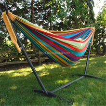 Outdoor Double Fabric Hammock with Steel Stand