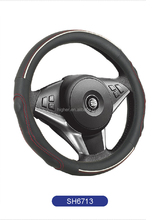 White piping sport steering wheel cover