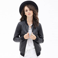 2016 lady casual fashion women bomber leather winter jacket for wholesale