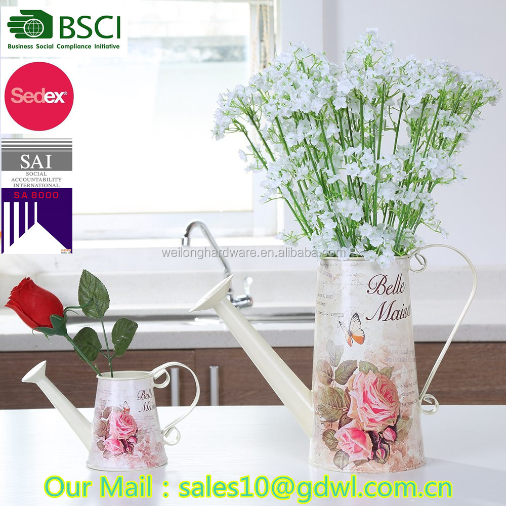 garden planters tall flower pot indoor home decorative metal watering can planter with customized logo