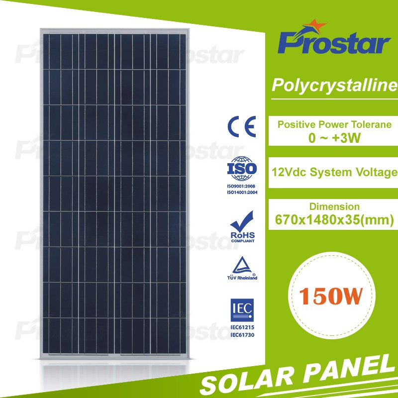 thin film photovoltaic solar panel 150Watt cell polycrystallfor high efficiency low price