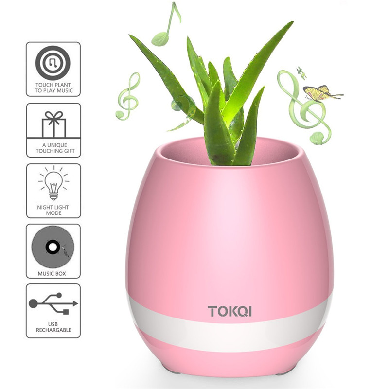 Smart Touch Music Plant Lamp Rechargeable Wireless Musical Boxes Music Flowerpot Bluetooth Speaker 2017