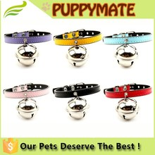 SImple Design Wholesale Soft Leather Dog Collar/Dog Collar Leash With Bell