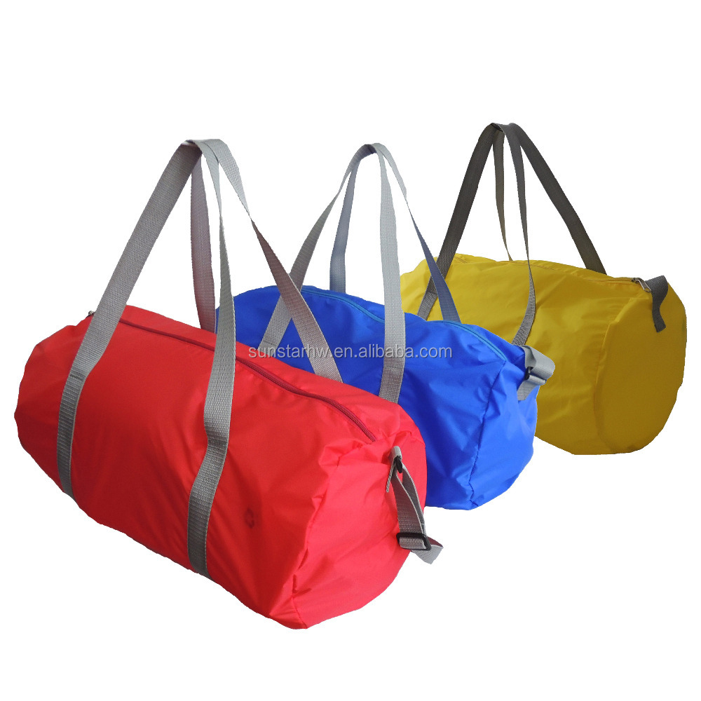 cheap promotional barrel shape travel bag 190T nylon duffel bag