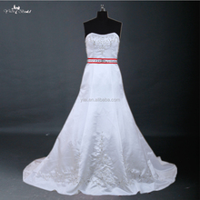 red and white simple but grance bling luxury bead lace embroider wedding gown J--0029