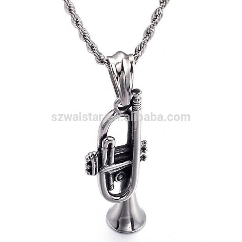 Newly design stainless steel Retro titanium necklace small horn musical pendant creative music necklace