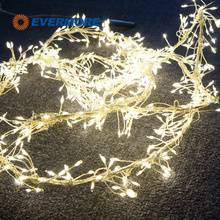 Evermore Invisible Warm White Copper Wire LED Cluster String Lights for Christmas