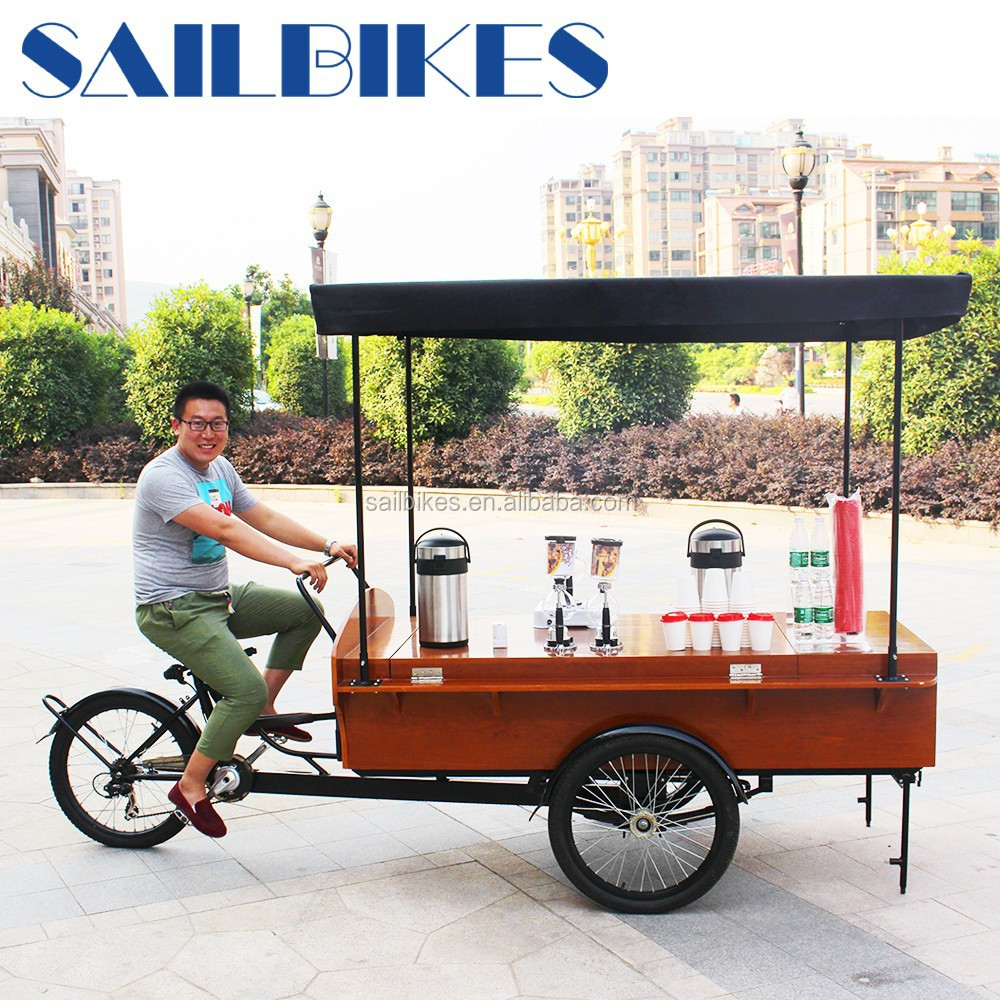 high quality fast food mobile shop coffee bicycles with three wheels