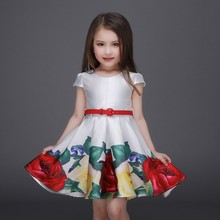 Professional Manufacturer Children Clothes Kids Frock Designs Girls Printed Normal Frock With Leather Belt L-93