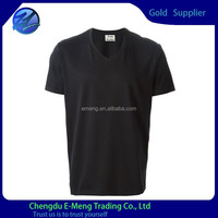 Plain blue v-neck cheap 100%cotton t shirt for man