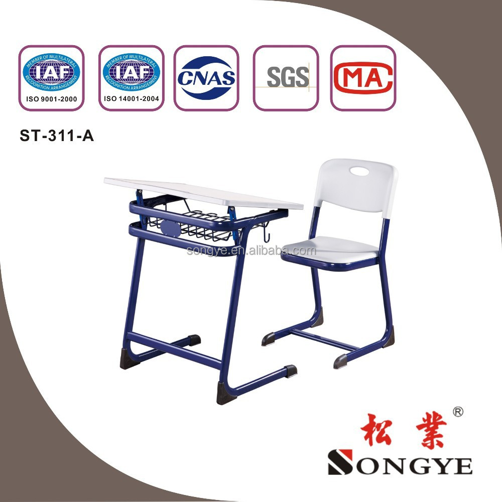 Modern adjustable school desk and chair ST-311