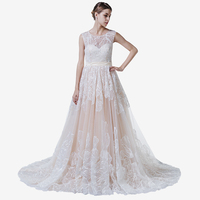 High Quality GuangZhou Import Wedding Dress Custom Made In China With Heavy Delicate Flower Lace