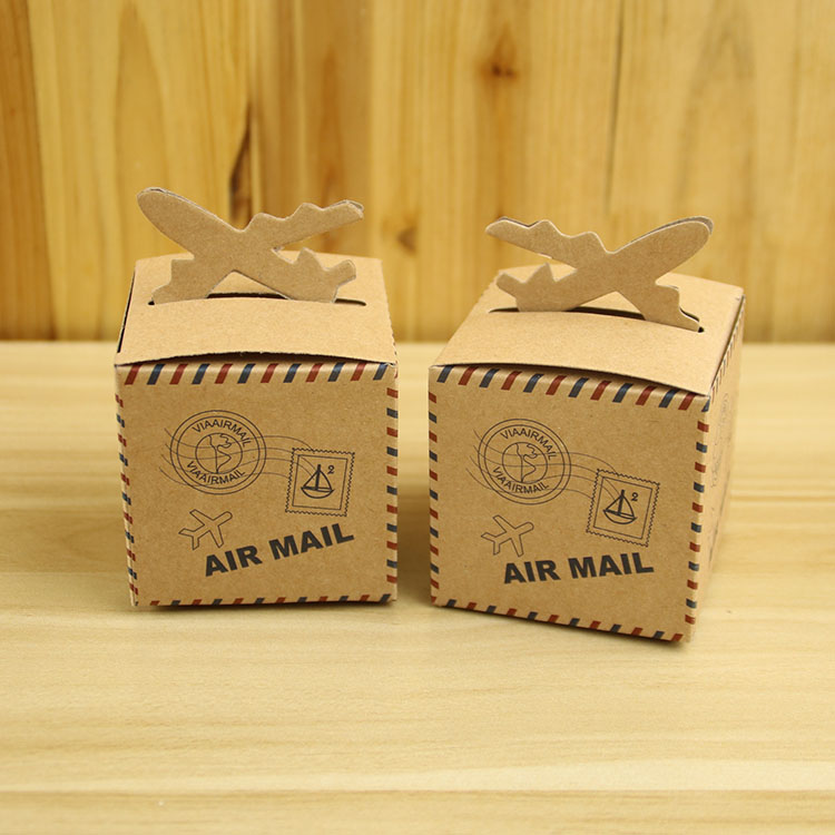 'AIR MAIL' Postmark Gift Boxes Sweets Candy Box Bag Wedding Party Favors