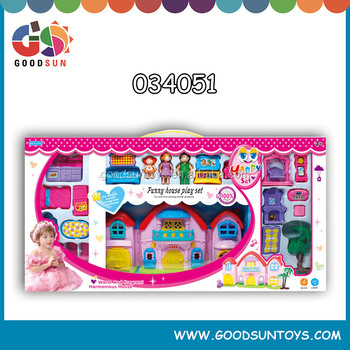 2015 hot sell plastic doll villa house toys set with furniture for girls&boys small order accepted chenghai toys