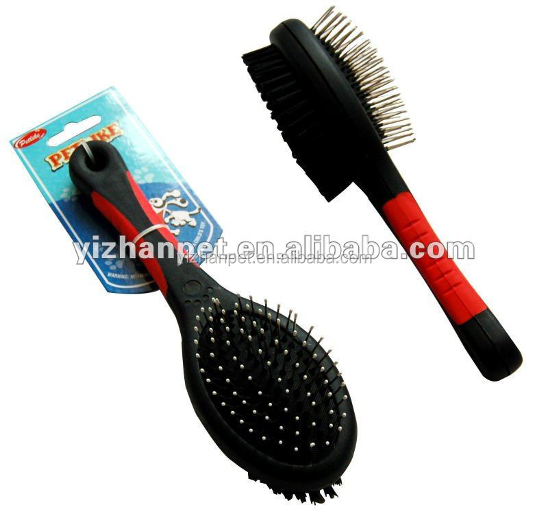 Soft Handle Plstic Grooming Brush Two Sides Pet Slicker Wood Brush With Comfort Tips