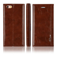 C&T Premium Brown Genuine Leather Wallet Folio Case for Apple iPhone 7 Plus
