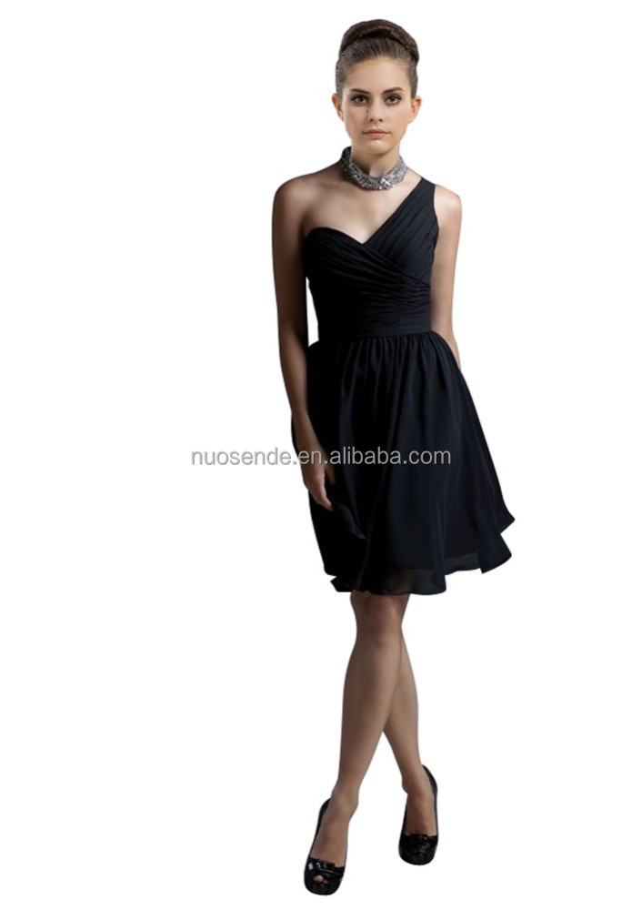 Cheap One Shoulder Ruffle Knee Length Bridesmaid Dresses