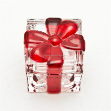 China factory best price wholesale trinket box glass square shape red ribbon trinket box for jewelry