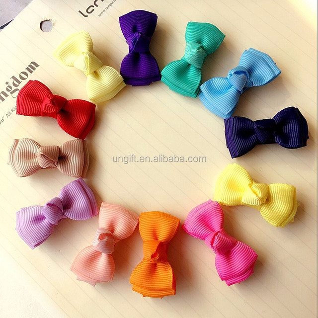 Handmade Solid Ribbon Small Hair Bow For Girl Kids Fashion Boutique Bow With Clip Children Hair Accessories
