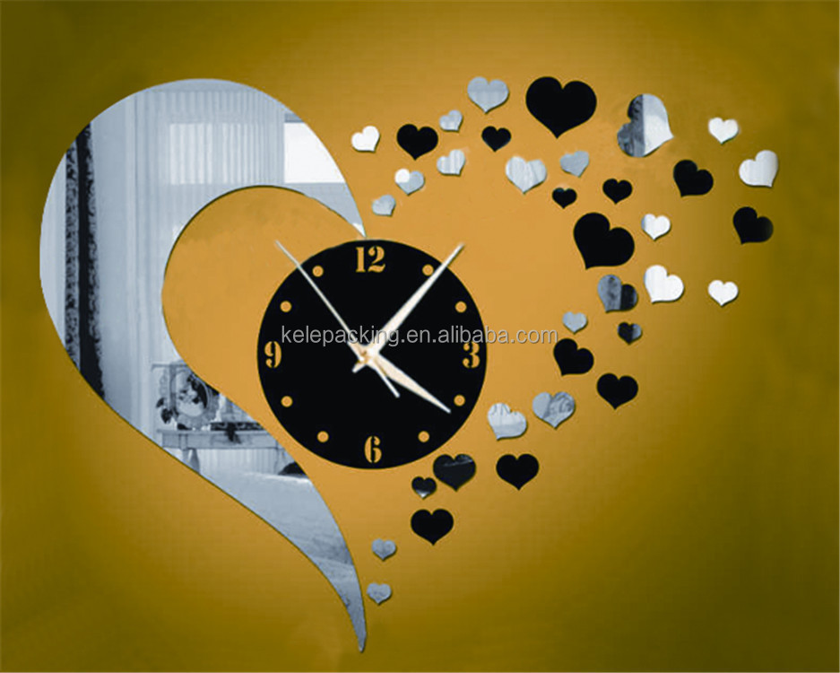 Custom decorative mirror DIY wall mounted clocks acrylic wall clock
