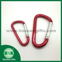Dongguan factory 5cm 6cm 7cm red d carabiner colored snap carabiner on sale