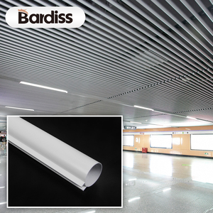 Decorative open ceiling tile aluminum round pipe baffle ceiling for station hall