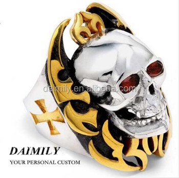 Daimily Factory direct Wholesale Stainless Steel Halloween Fashion Jewelry Gold Fire Skull Biker Ring Punk Style
