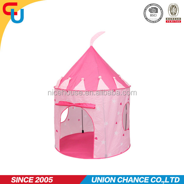 castle design pink color round shape kid play tent