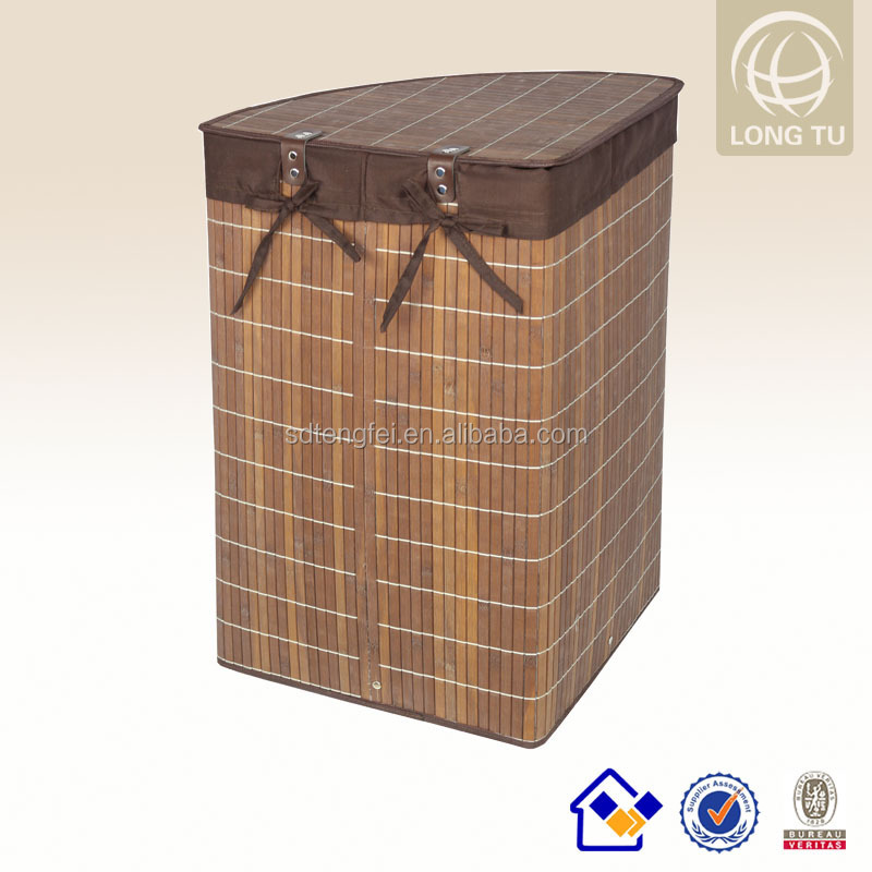 2015 New Spring Cosy and Lidded white folding fabric bamboo baskets /hamper box pretty design