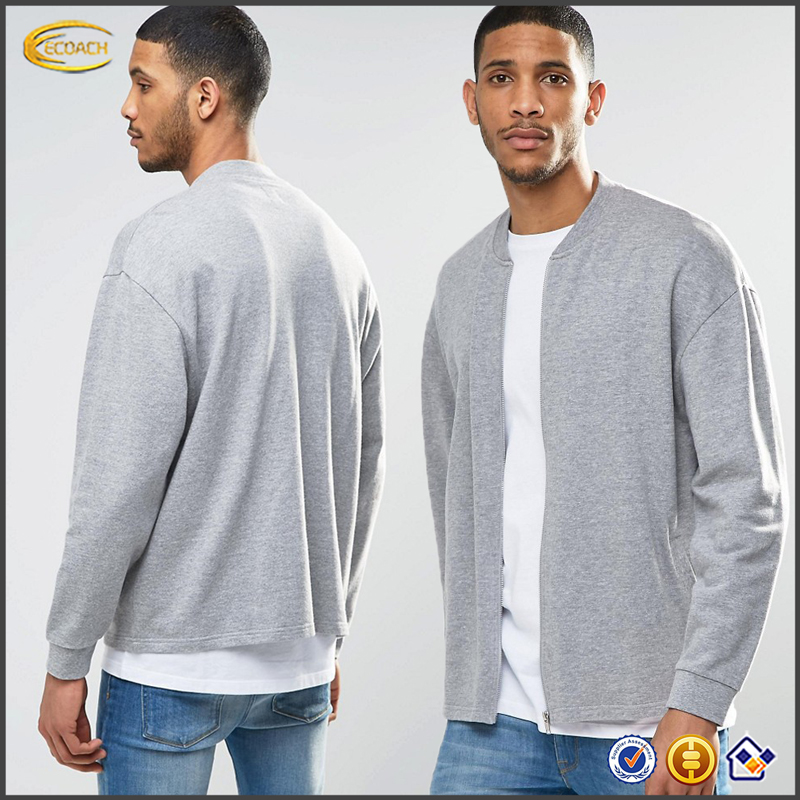 Ecoach 2016 Wholesale Solid Plain Gray Zip Front Long Sleeve 88% Cotton 12% Viscose Oversized Mens Bomber Jacket