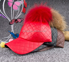 Top quality lip hat genuine raccoon fur pom pom baseball cap