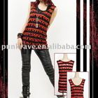 Punk Rave black-red striped sleeveless T-shirt T-236