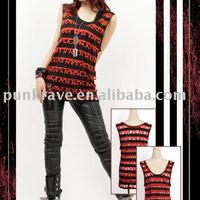 Punk Rave Black Red Striped Sleeveless