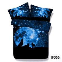 Wolf Pack and Blue Moon HD digital print 3d bedding set