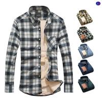 winter warm long sleeve mens plaid flannel shirt