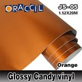 ROHS Certificate Oraccil Brand Orange 1.52*20m air free bubbles 3layers self adhesive Glossy candy car wrap Vinyl