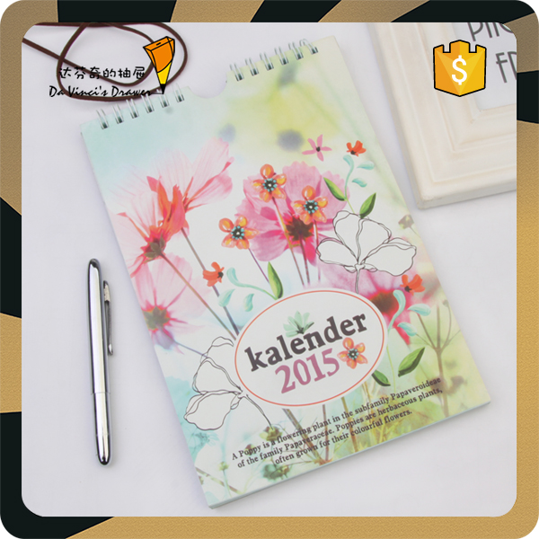 Wholesale fashion sprial notebook customized kalender diary