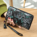 Genuine Leather Retro Stereo Printing With Ethnic Style lady's Wallet