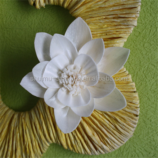 Cheap <strong>manufacturer</strong> home scents 8cm rose handmade white sola flower for home diffuser