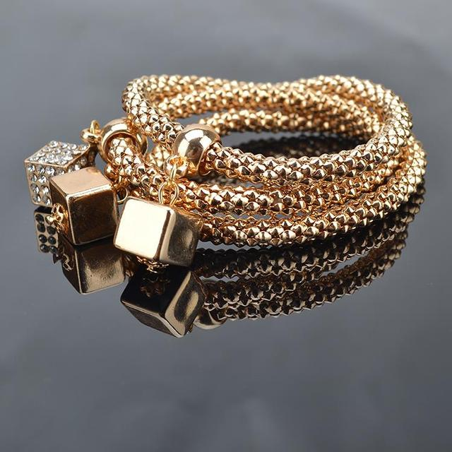 TS1340 3Pcs/Lot High Quality Fashion Gold Plated Crystal Chain Bracelets & Bangles Ethnic Round Charm Bracelet with Pendants