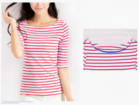 Middle sleeves striped t shirt women casual wear slim fit new design