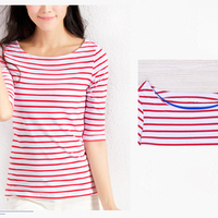 Middle Sleeves Striped T Shirt Women